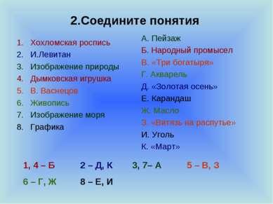 2.Соедините понятия Хохломская роспись И.Левитан Изображение природы Дымковск...