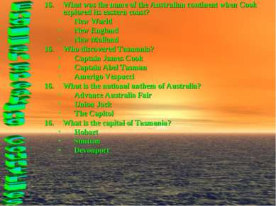 What was the name of the Australian continent when Cook explored its eastern ...