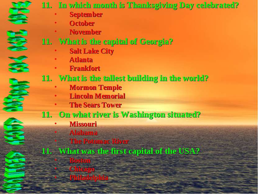 In which month is Thanksgiving Day celebrated? September October November Wha...