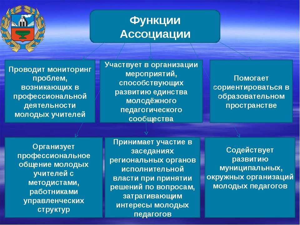 Функции Ассоциации Проводит мониторинг проблем, возникающих в профессионально...