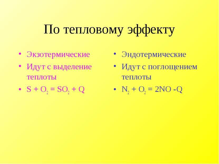 По тепловому эффекту Экзотермические Идут с выделение теплоты S + O2 = SO2 + ...