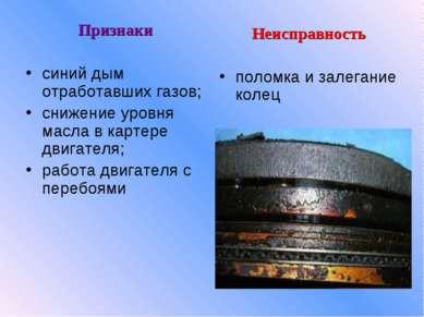 Признаки синий дым отработавших газов; снижение уровня масла в картере двигат...