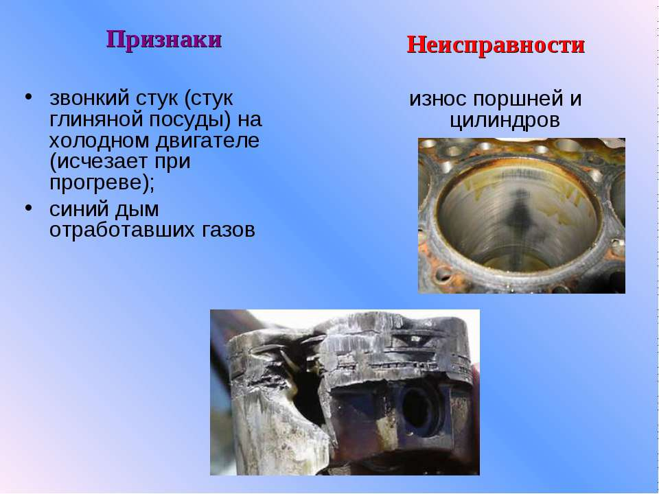 Неисправности износ поршней и цилиндров Признаки звонкий стук (стук глиняной ...
