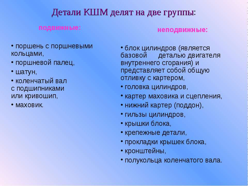 Детали КШМ делят на две группы: подвижные:  поршень с поршневыми кольцами, ...