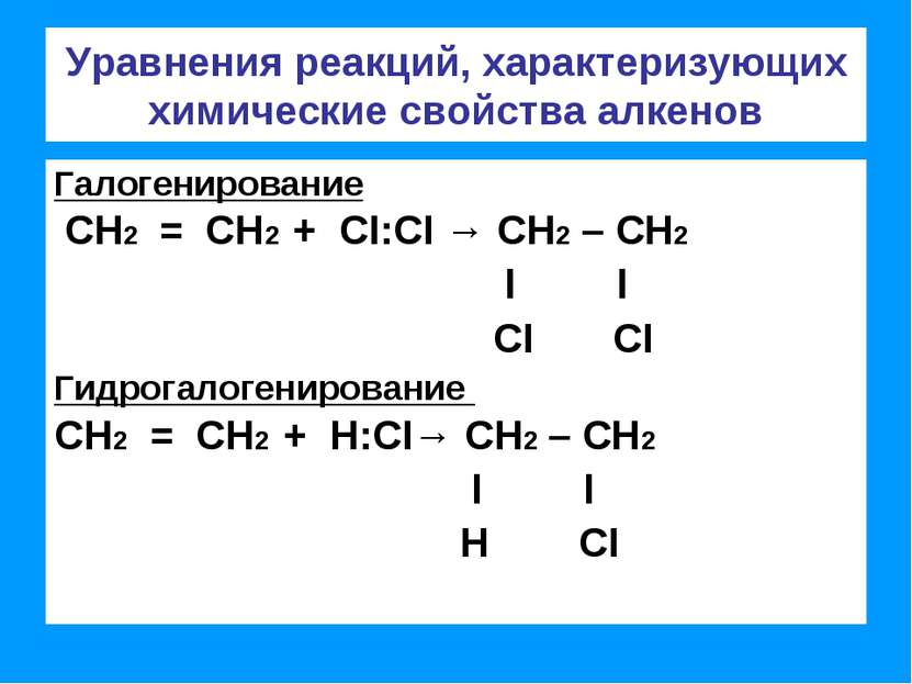 Уравнения реакций, характеризующих химические свойства алкенов Галогенировани...