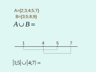 А={2;3;4;5;7} B={3;5;8;9} 1 4 5 7