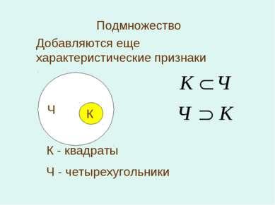 Подмножество К Ч К - квадраты Ч - четырехугольники Добавляются еще характерис...