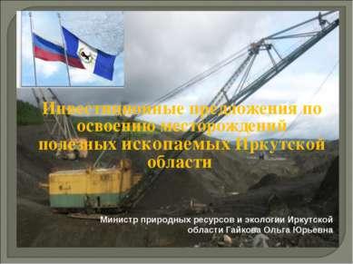 Инвестиционные предложения по освоению месторождений полезных ископаемых Ирку...