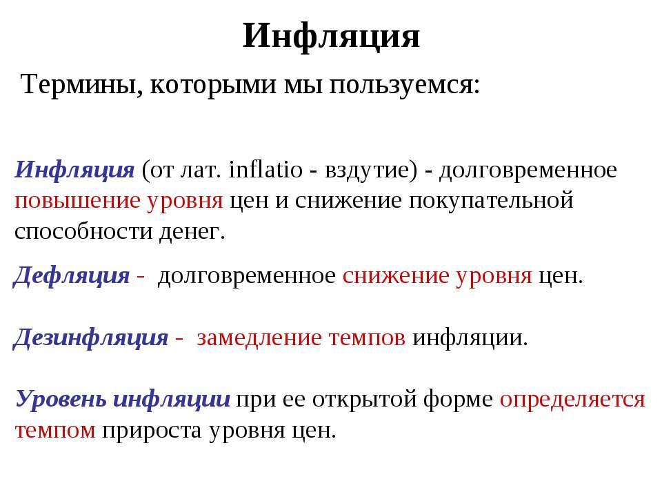 Инфляция Термины, которыми мы пользуемся: Инфляция (от лат. inflatio - вздути...