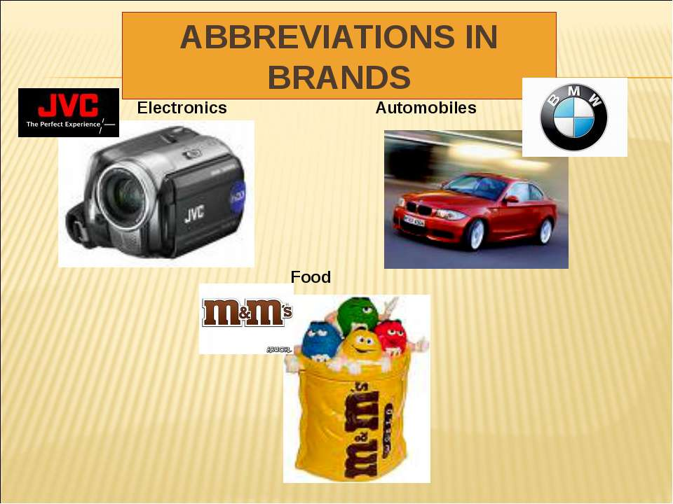 ABBREVIATIONS IN BRANDS Electronics Automobiles Food