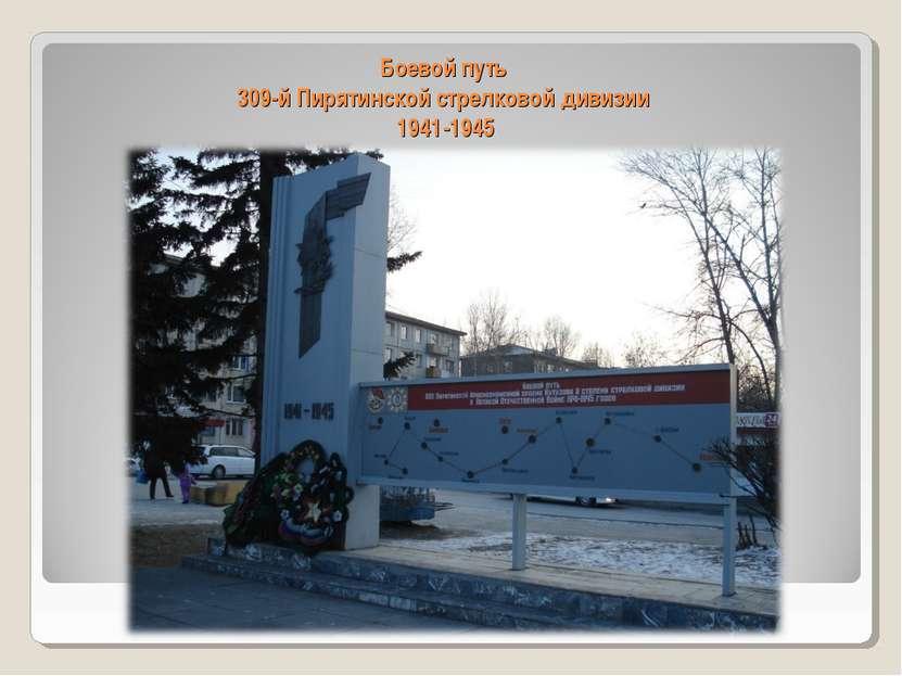 Боевой путь 309-й Пирятинской стрелковой дивизии 1941-1945