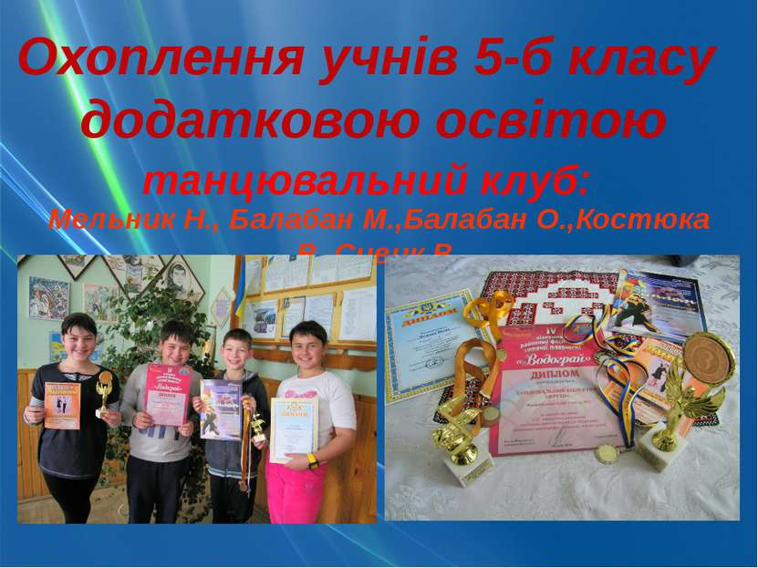Охоплення учнів 5-б класу додатковою освітою танцювальний клуб: Мельник Н., Б...