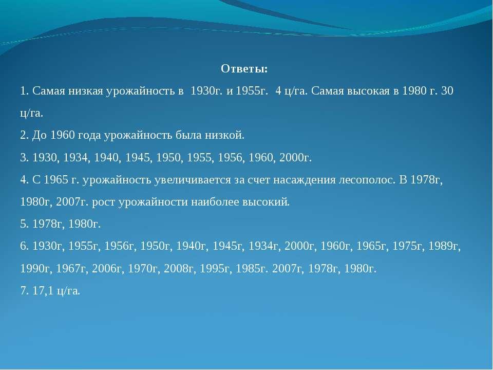 Ответы: 1. Самая низкая урожайность в 1930г. и 1955г. 4 ц/га. Самая высокая в...