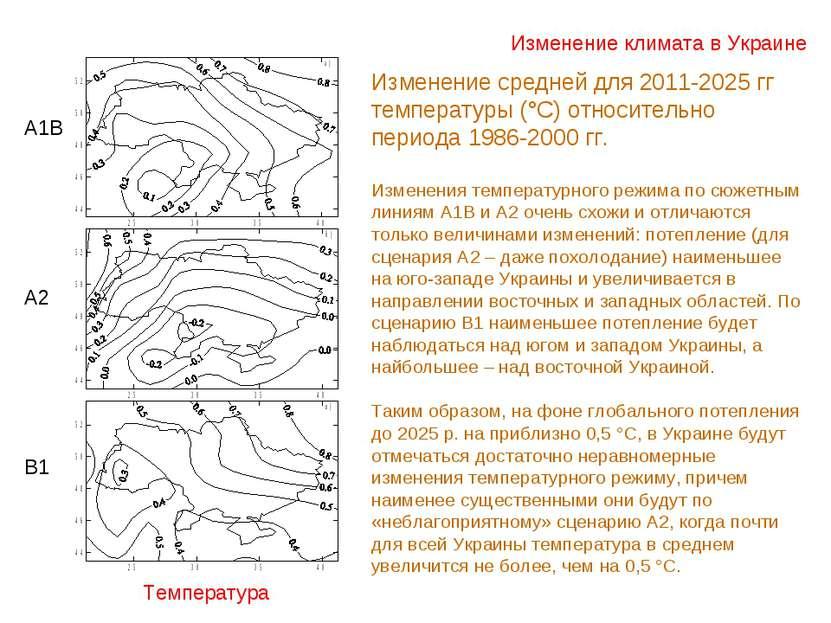 Изменение климата в Украине Температура А1В А2 В1 Изменение средней для 2011-...