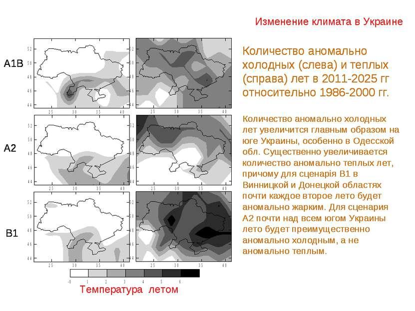 Изменение климата в Украине Температура летом А1В А2 В1 Количество аномально ...