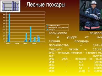 Лесные пожары Количество пожаров и ущерб от них. Общая площадь лесничества – ...