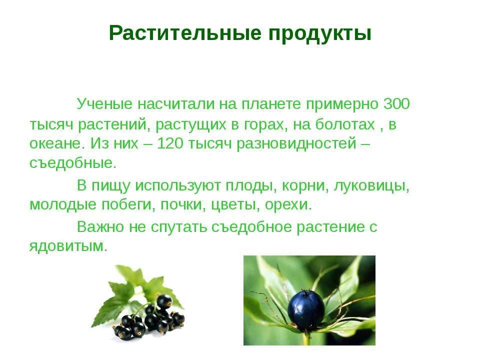 Растительные продукты Ученые насчитали на планете примерно 300 тысяч растений...