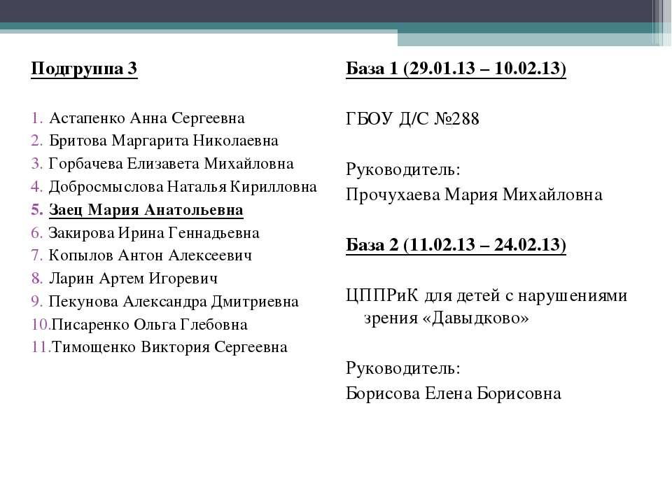 Подгруппа 3  Астапенко Анна Сергеевна Бритова Маргарита Николаевна Горбачева...