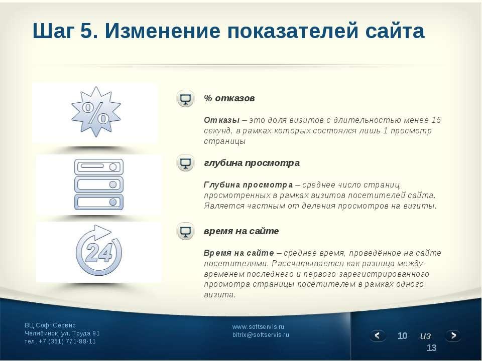 Шаг 5. Изменение показателей сайта время на сайте Время на сайте– среднее вр...
