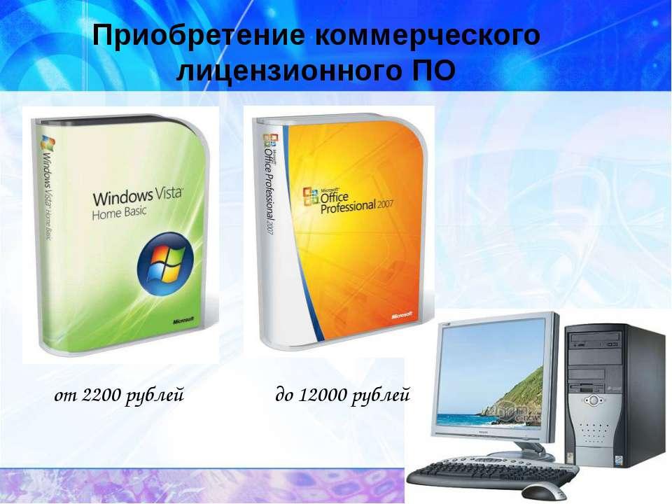 Приобретение коммерческого лицензионного ПО от 2200 рублей до 12000 рублей