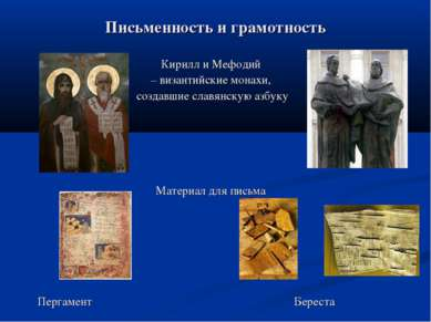 Письменность и грамотность Кирилл и Мефодий – византийские монахи, создавшие ...