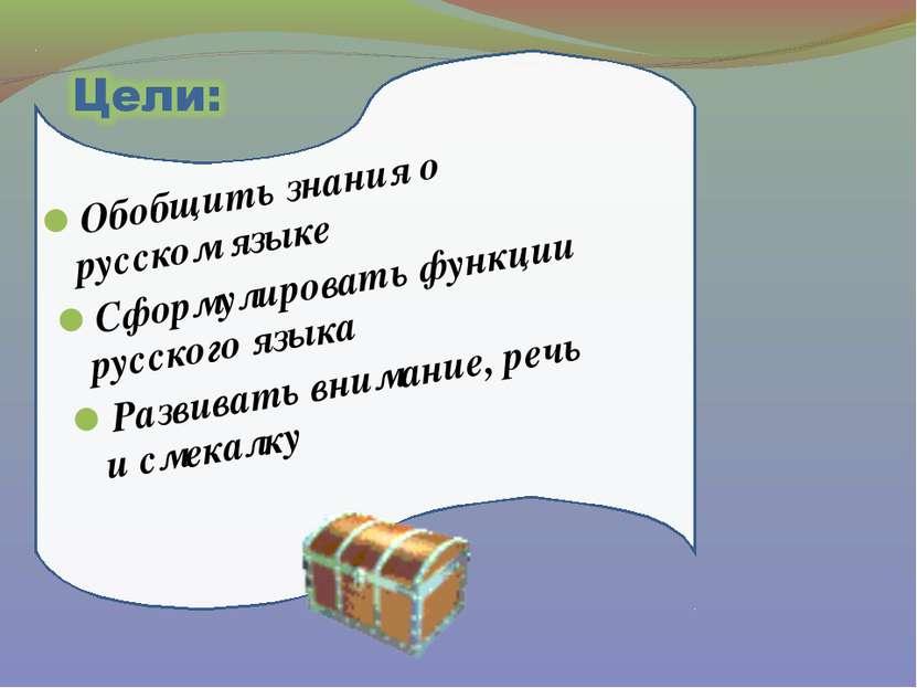 Обобщить знания о русском языке Сформулировать функции русского языка Развива...