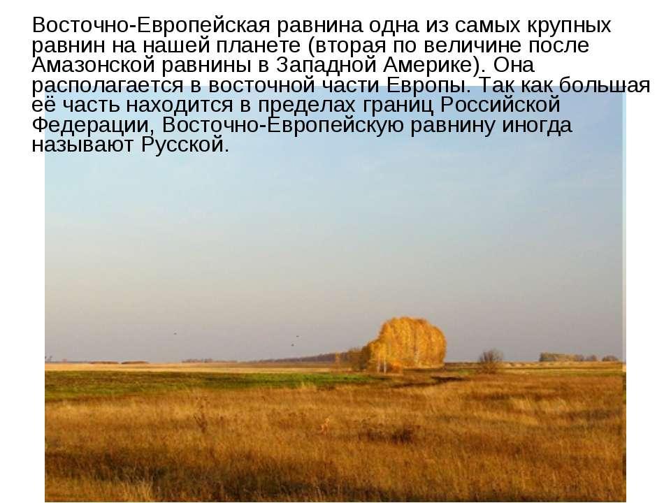 Восточно-Европейская равнина одна из самых крупных равнин на нашей планете (в...