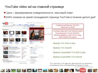 YouTube video ad на главной странице Цель – формирование осведомленности, мас...