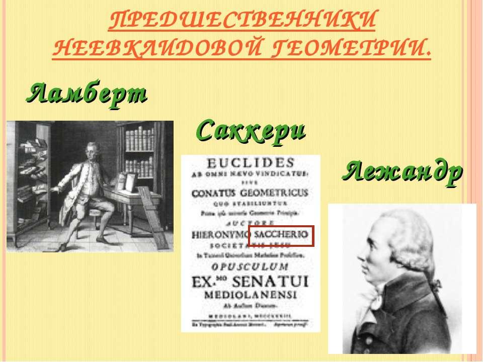Ламберт Лежандр ПРЕДШЕСТВЕННИКИ НЕЕВКЛИДОВОЙ ГЕОМЕТРИИ. Саккери