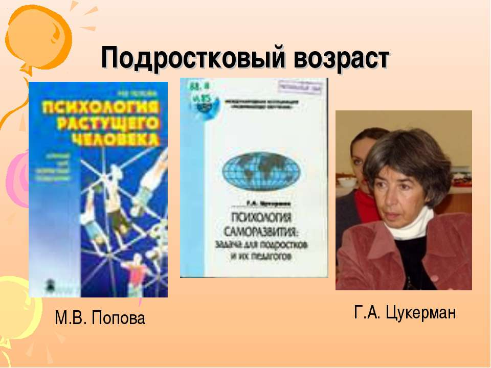 Подростковый возраст М.В. Попова Г.А. Цукерман