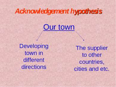 Acknowledgement hypothesis Our town Developing town in different directions T...