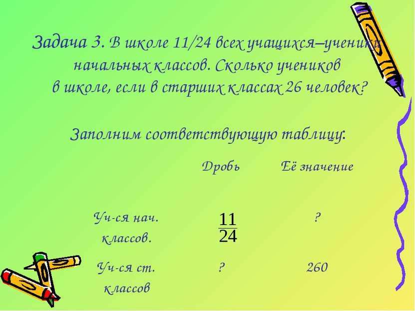 Задача 3. В школе 11/24 всех учащихся–ученики начальных классов. Сколько учен...