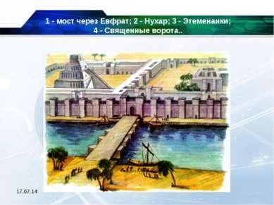 * 1 - мост через Евфрат; 2 - Нухар; 3 - Этеменанки; 4 - Священные ворота..