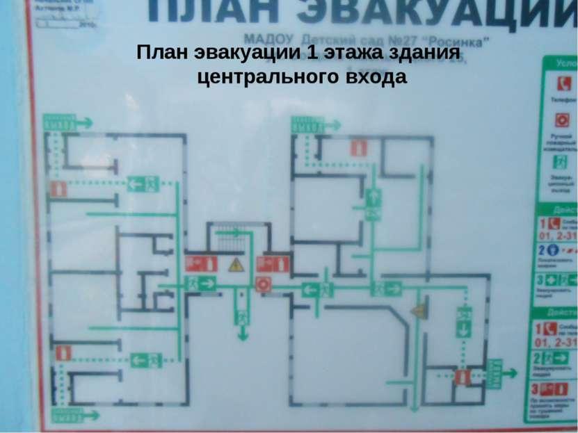 План эвакуации 1 этажа здания центрального входа