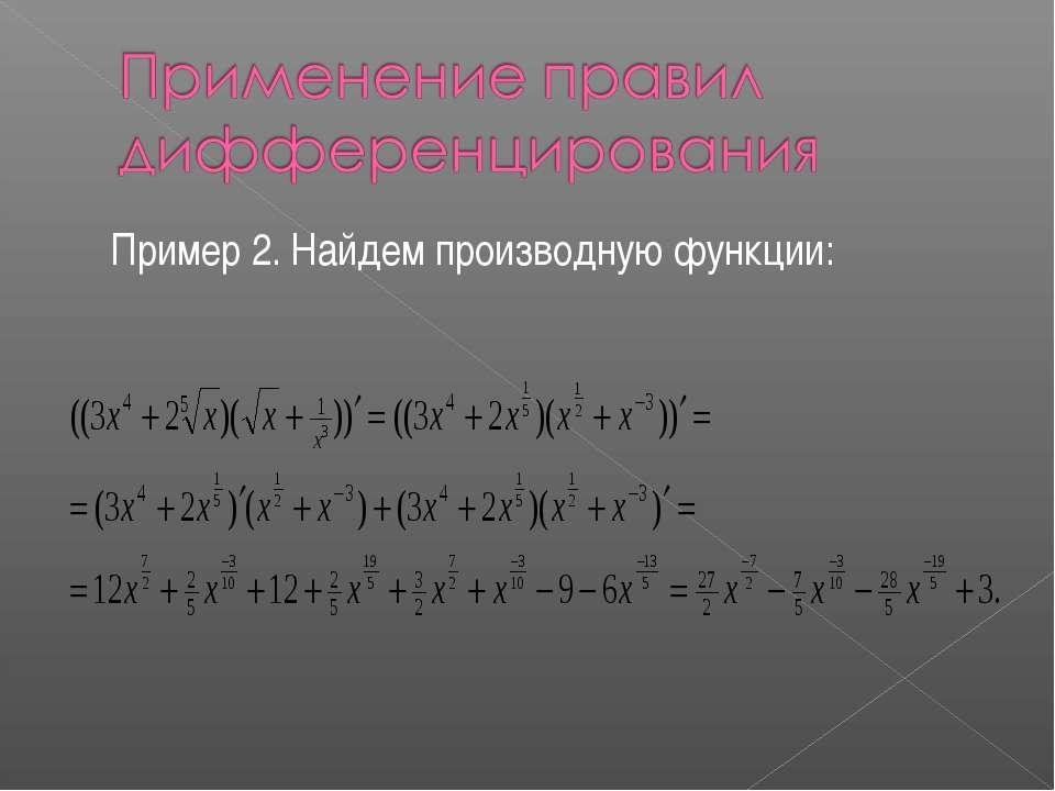 Пример 2. Найдем производную функции: