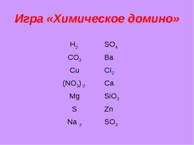 Игра «Химическое домино» Н2 SO4 CO3 Ba Cu CI2 (NO3) 2 Ca Mg SiO3 S Zn Na 2 SO3