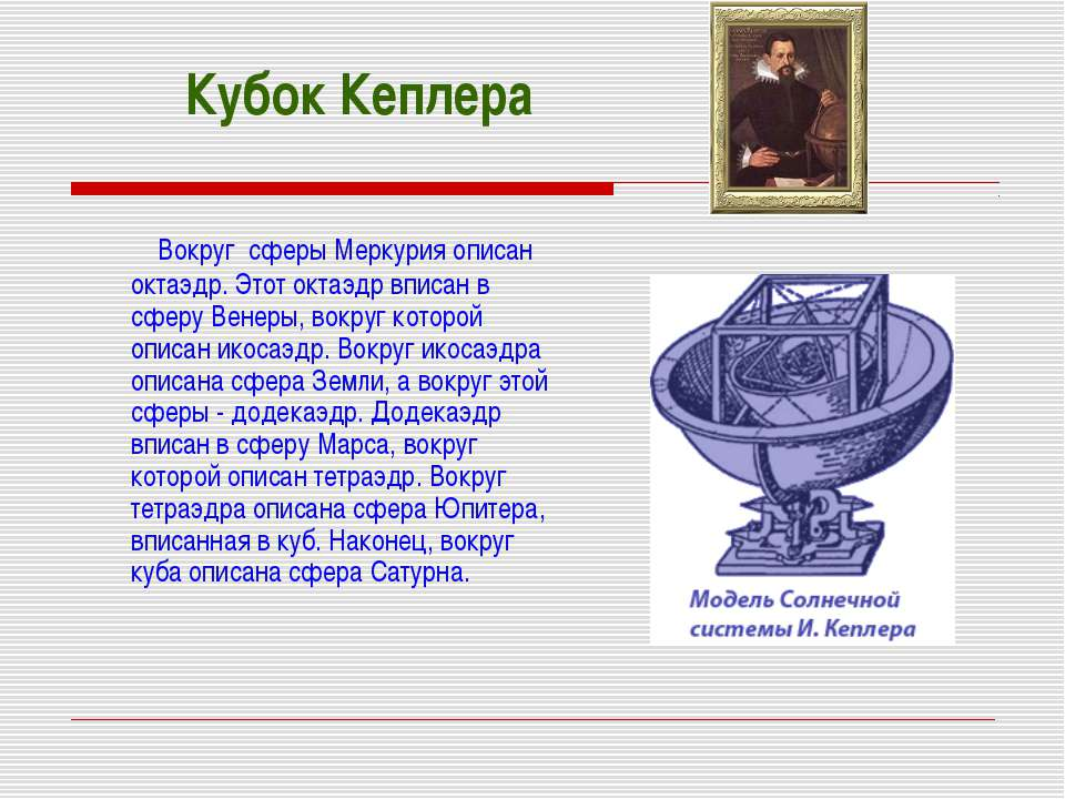 Кубок Кеплера Вокруг сферы Меркурия описан октаэдр. Этот октаэдр вписан в сфе...