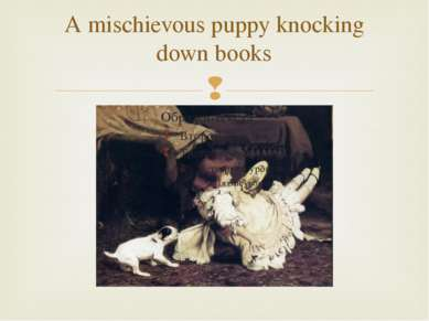 A mischievous puppy knocking down books