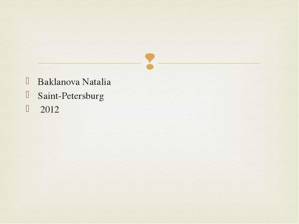 Baklanova Natalia Saint-Petersburg 2012