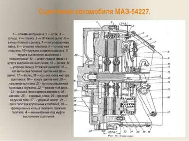 Сцепление автомобиля МАЗ-54227. 1 — отжимная пружина; 2 — шток; 3 — кольцо. 4...