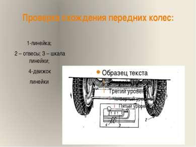 Проверка схождения передних колес: 1-линейка; 2 – отвесы; 3 – шкала линейки; ...