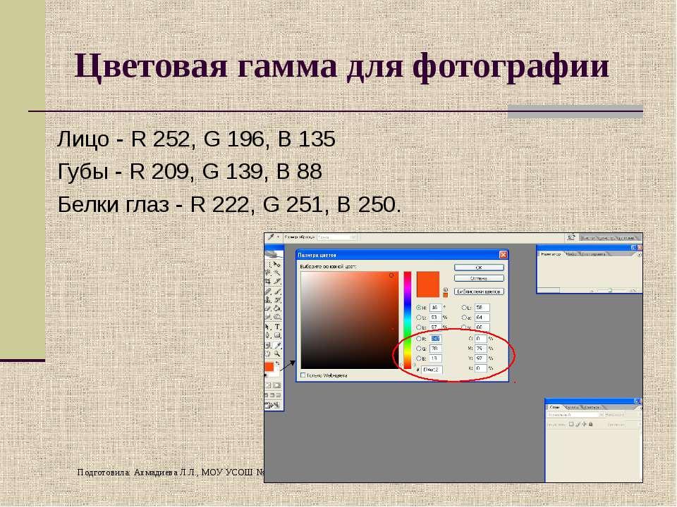 Цветовая гамма для фотографии Лицо - R 252, G 196, B 135 Губы - R 209, G 139,...