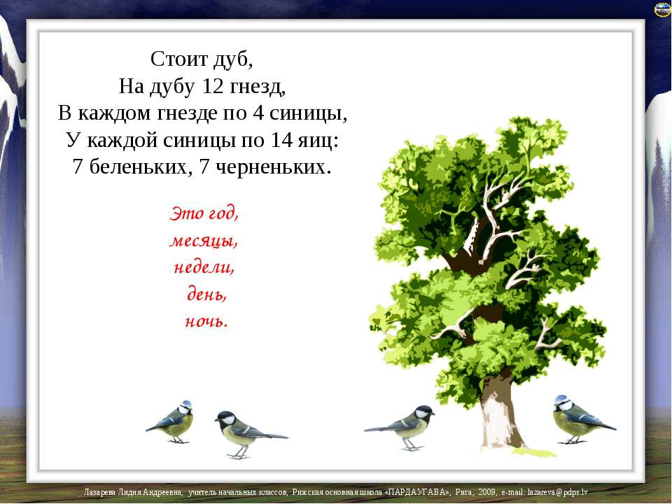 Это год, месяцы, недели, день, ночь. Стоит дуб, На дубу 12 гнезд, В каждом гн...