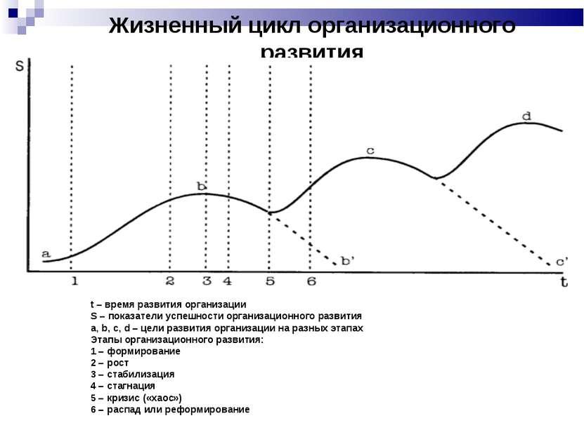 Жизненный цикл организационного развития t – время развития организации S – п...
