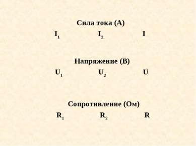 Сила тока (А) I1 I2 I Напряжение (В) U1 U2 U Сопротивление (Ом) R1 R2 R