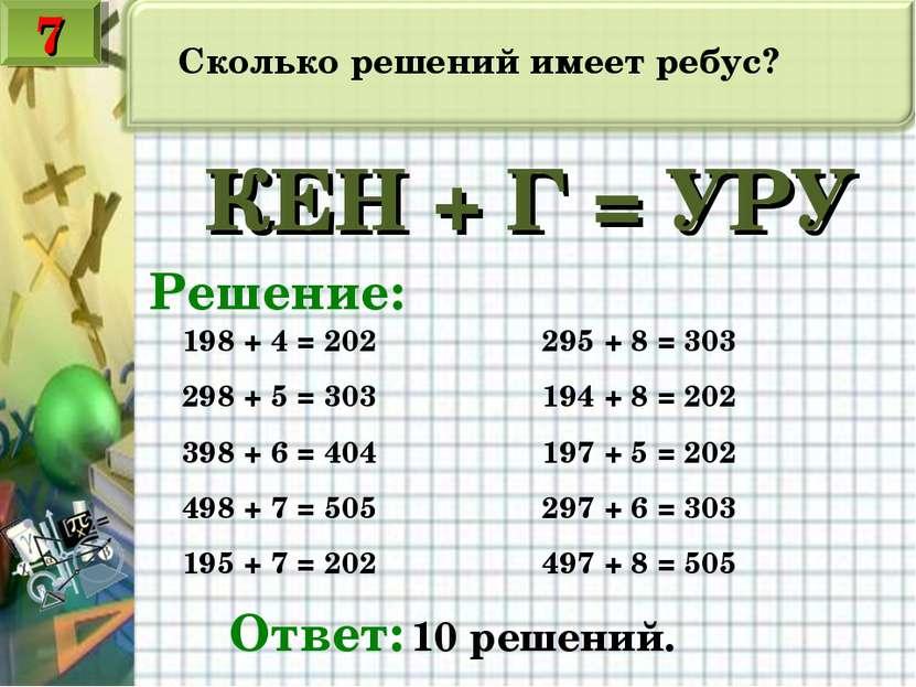 Сколько решений имеет ребус? КЕН + Г = УРУ Решение: 198 + 4 = 202 295 + 8 = 3...