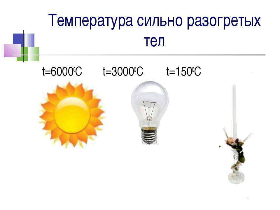 Температура сильно разогретых тел t=60000С t=30000C t=1500C