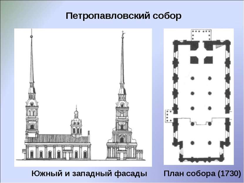 Петропавловский собор Южный и западный фасады План собора (1730)