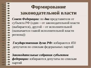 Формирование законодательной власти Совет Федерации: по два представителя от ...