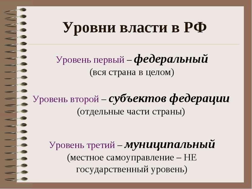 Уровни власти в РФ Уровень первый – федеральный (вся страна в целом) Уровень ...